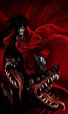 Dracula himself, Alucard is Hellsing's number one weapon against the creatures of the night. A loyal servant to the head of the Hellsing Organization, currently Integra Hellsing, Alucard is one of the most powerful Vampires that has ever existed. Wallpaper Animes, Animes Wallpapers, Dark Anime, Animation, Castlevania Anime, Hellsing Alucard, Anime Tumblr, Seras Victoria, Otaku