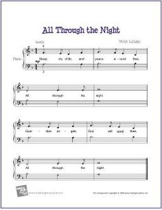 All Through The Night | Free Sheet Music for Easy Piano - http://makingmusicfun.net/htm/f_printit_free_printable_sheet_music/all-through-the-night-piano-solo.htm