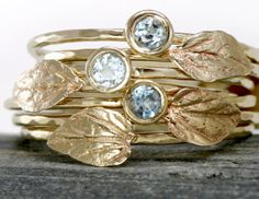 Aquamarine Leaf Ring in 14k Gold, Aquamarine Stacking Ring Set of Two: $279. Via Diamonds in the Library.