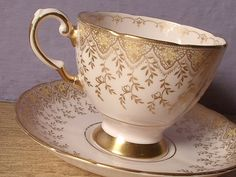 Antique Tuscan pink tea cup set English tea cup