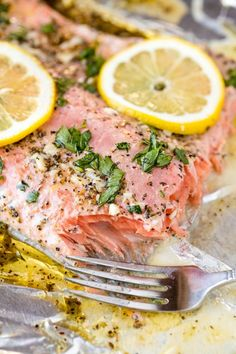 This #easy #Baked #Salmon #recipe is flavored with a simple #garlic herb #butter #sauce. It takes just 5 minutes to put it all together and get it into the oven for an easy #dinner that the whole family will love. Sometimes you just need an easy dinner that's also on the fancy side. This...