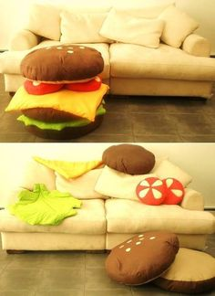 Love it! The most weird things usually look the best. I want my home to be decorated with humor.....its actually a very funn thing to see the cheese slice the tomato slice lying differently.....pun in the effect of burger elements spread out in the room