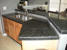 granite tiles for kitchen countertops – Kitchen cabinets Kitchen Design Countertops, Kitchen Installation, Ceramic Kitchen, Outdoor Kitchen Countertops, Granite Tile Countertops, Wooden Countertops Kitchen, Tile Countertops, Countertops, Kitchen Backsplash Tile Designs