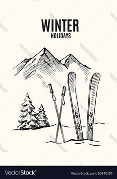 Ski in snow vector image on VectorStock Ski Drawing, Skiing Tattoo, Snow Vector, Vintage Ski Posters, Mountain Drawing, Winter Art, Easy Drawings, How To Draw Hands, Illustration
