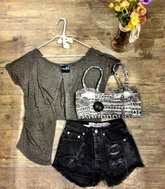 I really like the high-waisted shorts. I also like the idea of a pattern under the solid colour.
