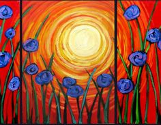 "Paint ""Blue Poppies"" (1st glass of wine/beer & appetizers included) - Painting and Sipping Events (Renton, WA) - Meetup"
