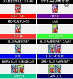 Cool color chart for hair dye with kool aid cool ideas pinterest