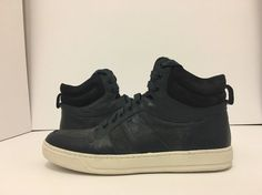Vince Adam Coastal Navy Midnight Suede Leather Men's High Top Sneakers US M Suede Leather, Leather Men, Men's High Top Sneakers, Mens Designer Shoes, Mens High Tops, Coastal, Navy, Hale Navy, Men's Leather