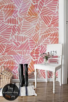 Abstract watercolor pattern wallpaper Removable wallpaper - foyer/office behind futon/sleeper sofa - different color