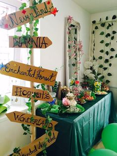 Made with gift wrap tubes and cardboard! amazing and easy DIY for an enchanted magical 16 Fairytale Birthday Party, Fairy Birthday, 17th Birthday, Enchanted Forest Party, Enchanted Book, Sweet 16 Themes, Forest Baby Showers, Storybook Baby Shower, Sweet 16 Parties