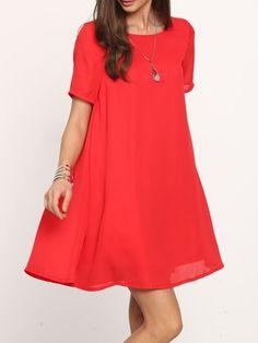 Vestido suelto sin espalda con manga corta -rojo