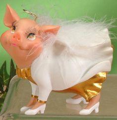 Istatue Collectibles Comical Pork Chops Pig Wine Holder Figurine Sculpture K...