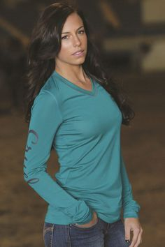 Cruel Girl Teal Long Sleeve Athletic Tee