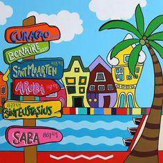 Kijk hoe fleurig! Een schilderij gemaakt door Miriam Griffioen. De Handelskade op ons kleurrijke Dushi Curacao!