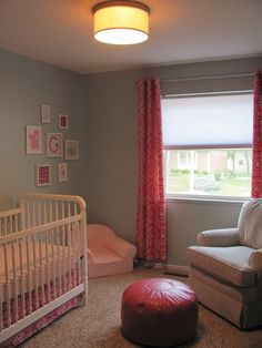 Gray and pink nursery with a splash of blue. I'm imagining it in green and purple, ultra soothing - for mama at least.