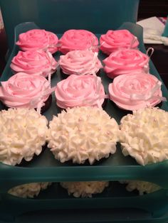 Floral pink & white baby shower cupcakes ~ Rose & hydrangea cupcakes. Cupcakes by: Bella Baby Cakes