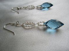 London Blue Drop and Pearl Earrings by BijouxEmmElle on Etsy, $33.00