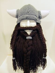 Bearded Viking Helmet - Hat - Men's Costume - Viking - Made to Order from CraftyRidge on Etsy. Saved to Things I want as gifts. Bonnet Crochet, Crochet Beanie, Knit Crochet, Crochet Hats, Crochet Geek, Irish Crochet, Viking Beard, Viking Helmet, Viking Costume