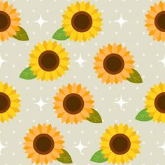 The seamless pattern of cute sunflower a... | Premium Vector #Freepik #vector #pattern #flower #frame #vintage