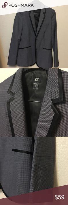 Men dark gray pattern H&M blazer with black trim Men blazer with dark gray patter and black trim. Very good condition. H&M Suits & Blazers Sport Coats & Blazers
