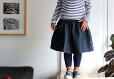 Cubica skirt for girls. Classic dark denim jeans. Toddler and preschool sizes. Easy wear for little girls. Sizes 2T to 5y