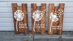 "Beautiful Dandelion Wall Art. Dandelion decor. Dandelion wood sign, Dandelions, z Prefect decor to hang up in your house! Tallest board measures approx 24"" x 10.5"". Wood is stained in a beautiful red oak color. This set is handmade, hand painted (no vinyl) and comes with saw tooth hangers on the back of each one for easy hanging. Message/Comment to order. www.facebook.com/creativelyhandmadene"