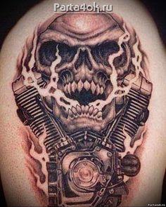 Harley Tattoos, Harley Davidson Tattoos, Biker Tattoos, Harley Davidson Art, Motorcycle Tattoos, Skull Tattoos, Skull Stencil, Skull Art, Skull Tattoo Design