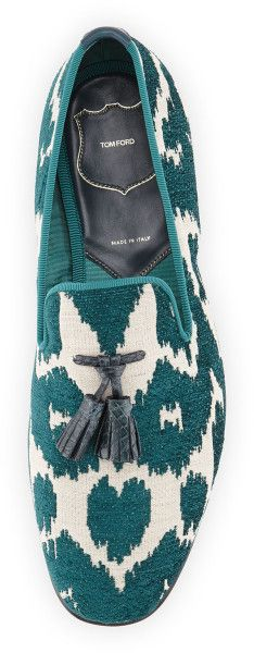 ~Tom Ford Chesterfield Jacquard Smoking Slipper in Green for Men | The House of Beccaria