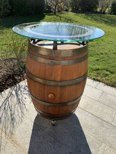 Wine Barrel Table, Outdoor Furniture, Outdoor Decor, Style Guides, Fountain, Garden, Home Decor, Environment, Wine Barrels