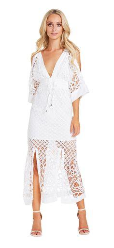 Corfu Maxi Dress (White) - Miss G