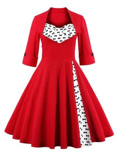GET $50 NOW | Join RoseGal: Get YOUR $50 NOW!http://www.rosegal.com/vintage-dresses/bowknot-print-insert-swing-dress-869538.html?seid=8344645rg869538
