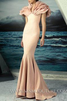 MNM Couture Pastel Pink Ruffled Yoke Evening Gown | Poshare