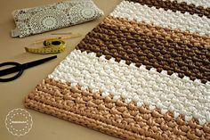 Best 12 Rectangular stripes rug pattern Crochet pdf pattern crochet – Page 857021004073419566 Crochet Rug Patterns, Crochet Motif, Crochet Rugs, Crochet Carpet, Crochet Home, Crochet Vintage, Kawaii Crochet, Striped Rug, Patterned Carpet