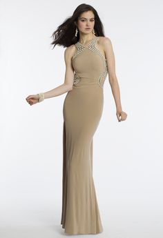 Camille La Vie Jersey Swirl Beaded Prom Dress