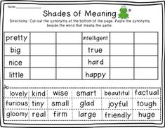 FREEBIE!! Shades of meaning