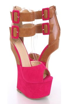 Stand out from the crowd with these stylish anti gravity wedges! Wanna turn heads? These shoes are the ones for you! They will look super hot paired with your favorite skinnies or dress. Make sure you add these to your closet, it definitely is a must have! Approximately 7 inch wedge heels, and 2 1/4 inch platforms.
