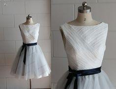Boat Neckline Ivory Lace Silver Grey Tulle Knee Length Short Wedding Dress/Bridesmaid Dress/Prom Dress/Navy Blue Sash on Etsy, $105.04 CAD