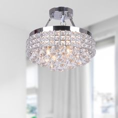 Antonia 4-light Crystal Semi-flush Mount Chandelier with Chrome Iron Shade | Overstock.com Shopping - The Best Deals on Flush Mounts