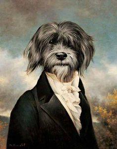 Interesting dog portrait by Thierry Poncelet. (Anthropomorphic) ~Via Carola Gustav Klimt, Costume Chien, Kunst Poster, Dog Paintings, Animal Heads, Pics Art, Dog Portraits, Family Portraits, Stretched Canvas Prints