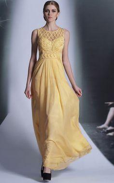 Yellow Jewel Neck Formal Prom Evening Dress DQ830975