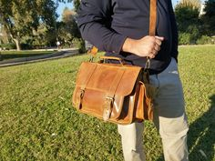 Vintage Styled Leather Messenger Bag. Distressed Leather Briefcase. 13 inch Laptop Bag. Timberland Color. Genuine Leather Handmade in Greece by LeatherStrata on Etsy
