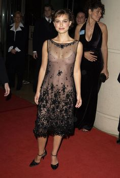 Pin for Later: Over 60 of Natalie Portman's Best Red Carpet Looks Ever Natalie Portman in a Sheer Tea-Length Dress at the 2003 American Cinematheque Awards A sheer, but ladylike tea-length dress on the red carpet in '03.
