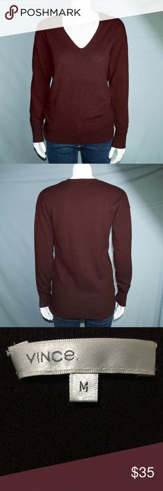 Vince 100% Cashmere V Neck Sweater Pullover Medium There's some pilling, but overall the sweater is in good condition. No rips or stains. The sweater is a lot darker in person Vince Sweaters V-Necks