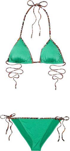 Matthew Williamson Printed Triangle Bikini in Green