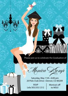 College Graduation Party Invitation DIY High by AnnounceItFavors Graduation Party Planning, College Graduation Parties, Graduation Celebration, Graduation Party Invitations, Diy Invitations, Grad Parties, Trunk Party, Graduation Announcements, Party Ideas