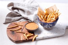 Parsnip Fries with Harissa Mayo  These delicious parsnip fries have harissa mayo with flavors of cayenne, cumin, chili, peppers and tomato for an addictive healthy treat.