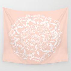 Pink Wall Tapestry light pink mandala wall tapestry, pink wall tapestry, blush pink