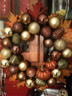 I must remember to buy ornaments like this at Christmas so I can make a wreath like this for next Fall!