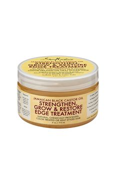 SheaMoisture Jamaican Black Castor Oil Strengthen, Grow & Restore Edge Treatment -- A precision styling aid. Provides a light, touchable hold. Blocks the effects of humidity, while controlling reversion and flyaway hair for sleek, frizz-free styles. Nutrient-rich formula helps promote growth by strengthening and conditioning hair.