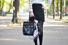 Romwe white blouse, high waisted black skirt, tights, Christian Louboutin classic  Pigalle pumps and Roberto Cavalli Diva bag. Added to this monochromatic combination: a golden necklace  and a vintage scarf.